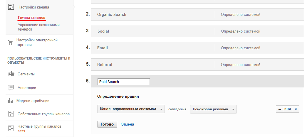 Google Analytics. Настройка канала